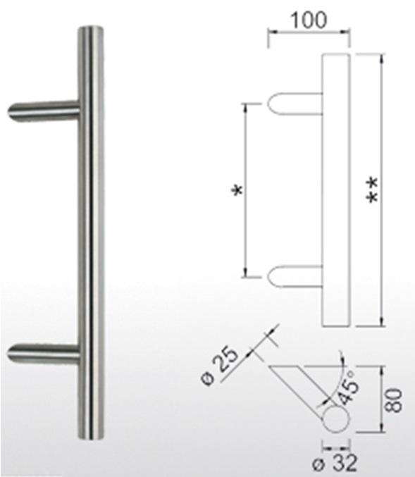 10. Pull handle 45º (matt chrome)
